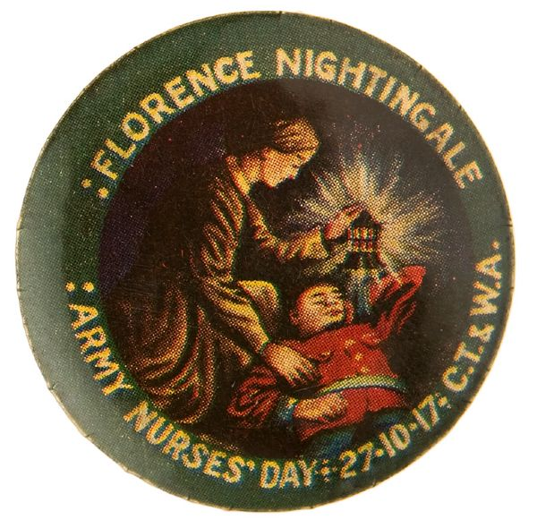 "WORLD WAR I AUSTRALIAN BUTTON DEPICTING ""FLORENCE NIGHTINGALE."""