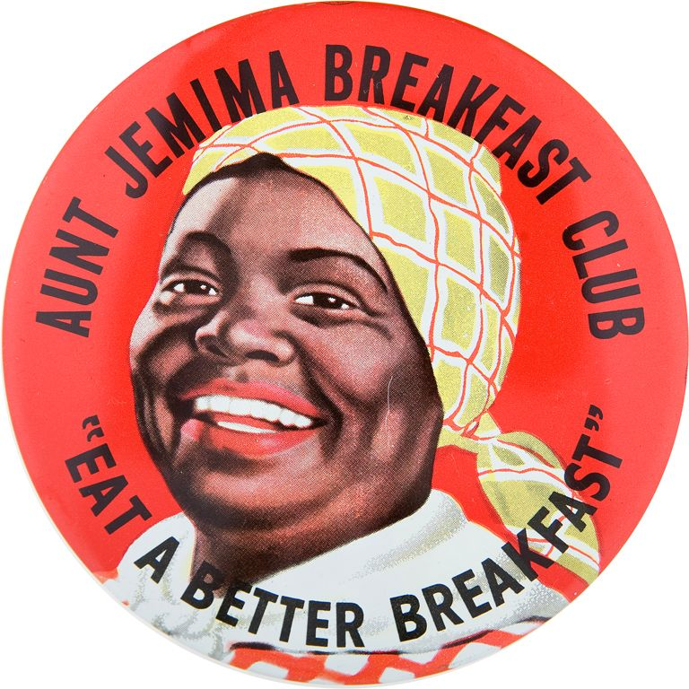 AUNT JEMIMA BREAKFAST CLUB  CLASSIC 1950s LITHO BUTTON  ITEM564 on food of the 1950s