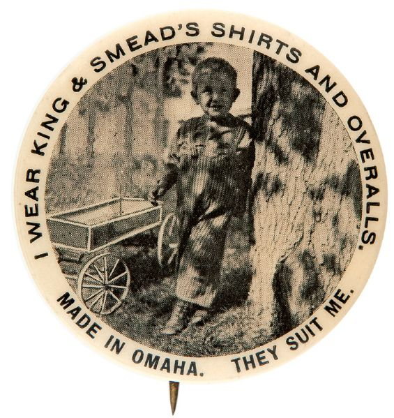 EXCEPTIONAL EARLY B/W PHOTO BUTTON FOR OMAHA CHILDREN'S APPAREL MAKER.