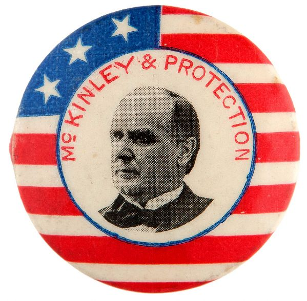 """MCKINLEY & PROTECTION"" GRAPHIC LARGE SIZE 1.25"" LAPEL STUD BACK BUTTON."