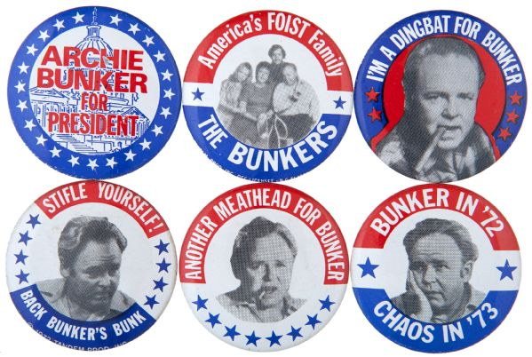 ALL IN THE FAMILY TV SHOW ARCHIE BUNKER 6 SPOOF PRESIDENTIAL CAMPAIGN BUTTONS FROM 1972.