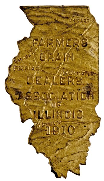 """FARMERS GRAIN DEALERS OF ILLINOIS 1910"" STATE FIGURAL BRASS PIN."