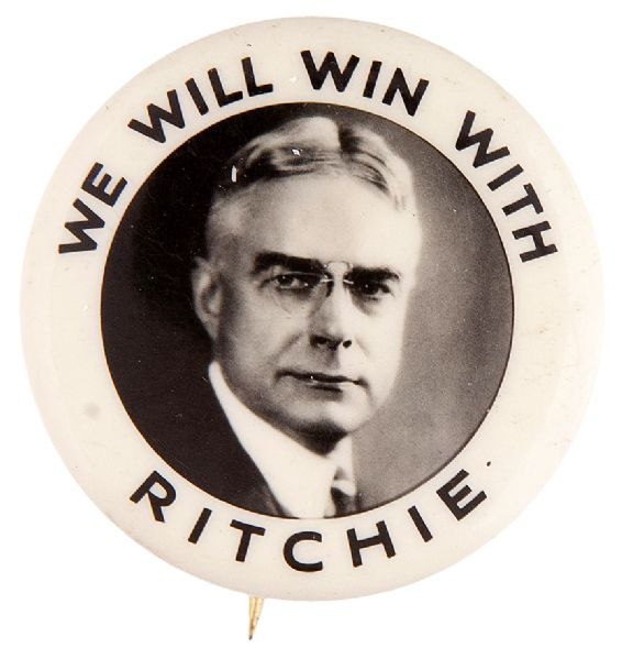 """WE WILL WIN WITH RITCHIE"" MARYLAND GOV. HOPEFUL BUTTON."
