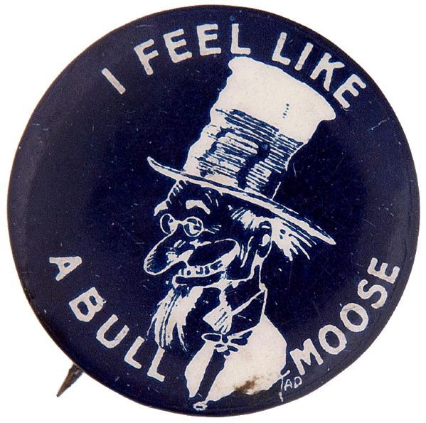 """I FEEL LIKE A BULL MOOSE"" 1912 TEDDY ROOSEVELT INSPIRED WITH ""TOKIO CIGARETTES"" BACK PAPER BUTTON."