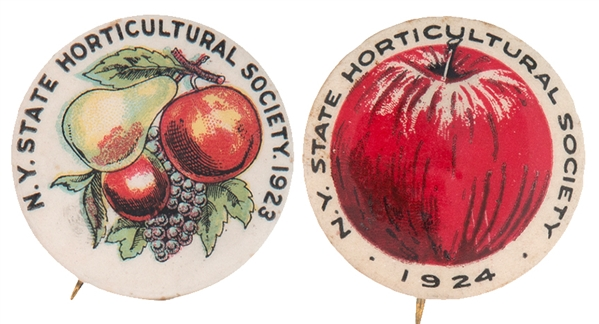 """N.Y. STATE HORTICULTURE SOCIETY"" OF 1923 & 1924 BUTTON PAIR."