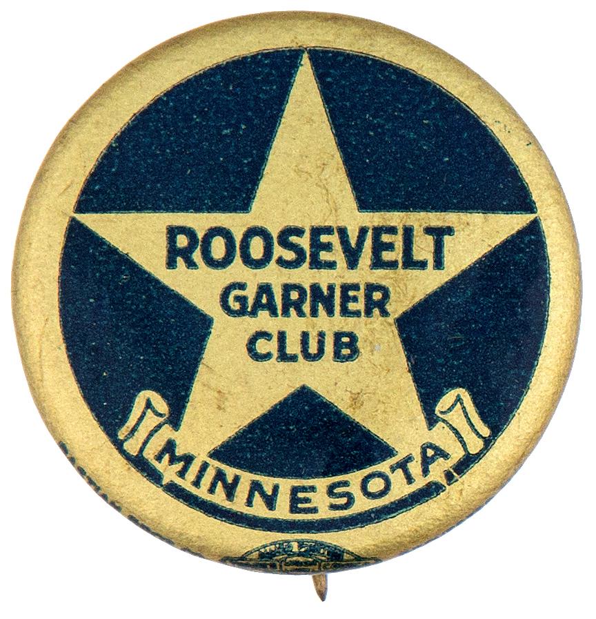 """ROOSEVELT GARNER CLUB MINNESOTA"" FROM STATE"