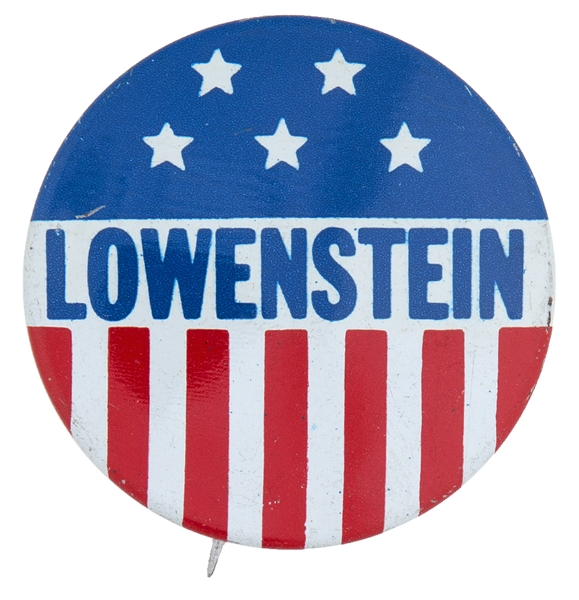 ALLARD LOWENSTEIN ANTI-WAR CONGRESSIONAL BUTTON FROM 1968 WITH STARS AND STRIPES.