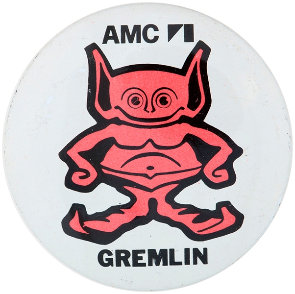AMERICAN MOTORS CORPORATION GREMLIN CHARACTER LOGO LITHO BUTTON.