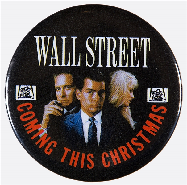 WALL STREET COMING THIS CHRISTMAS 1987 MOVIE AD BUTTON.
