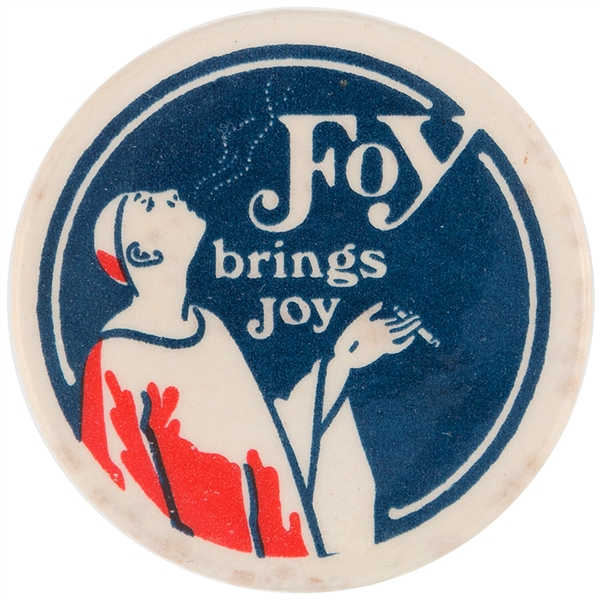 FOY BRINGS JOY ROLLING PAPERS EUROPEAN ADVERTISING BUTTON.