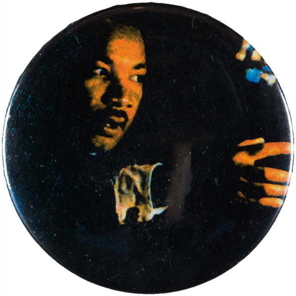 MARTIN LUTHER KING MASTER BUTTON FROM LEVIN COLLECTION FOR 1993 30TH ANNIVERSARY OF 1963 PROTEST.