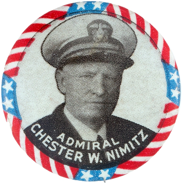GENERAL NIMITZ WORLD WAR II PORTRAIT BUTTON.