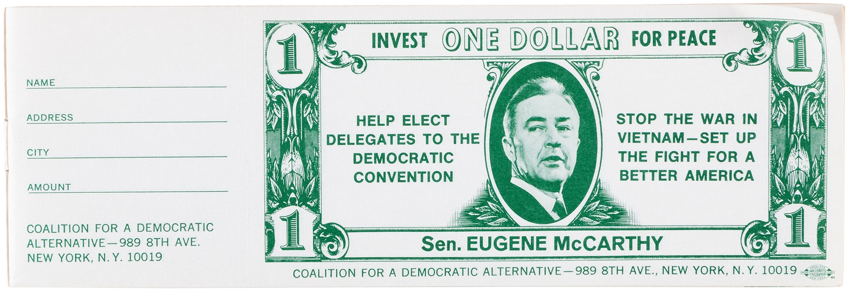 "McCARTHY 1968 ""ONE DOLLAR FOR PEACE"" FULL BOOKLET OF 20 DONATION CERTIFICATES."