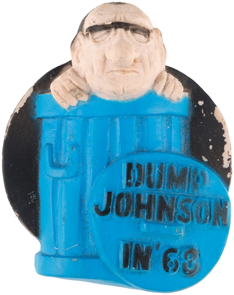 """DUMP JOHNSON IN 68"" HIGH RELIEF SOLID MOLDED VINYL BUTTON WITH 1.5"" SPRING PIN ON REVERSE."