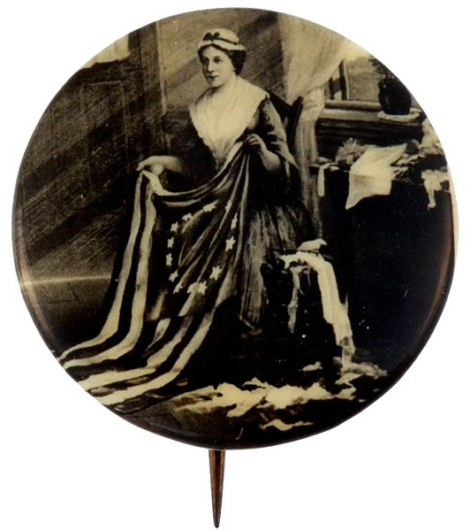 BETSY ROSS RARE PORTRAIT BUTTON CIRCA 1930s OR EARLIER.